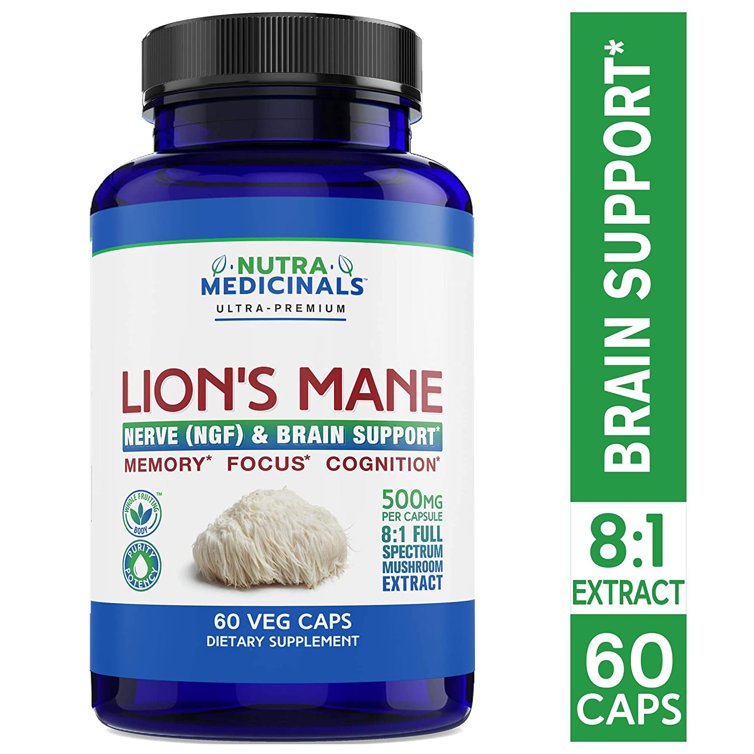 NutraMedicinals Lion s Mane Mushroom Capsules Nerve NGF Brain Support Natural Nootropic Supplement for Memory, Focus Cognition Non-GMO, Vegan, Organic 60 Caps, 8 1 Extract