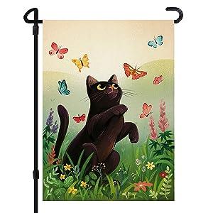 JOYMIN Home Garden Flag, Cute Cat & Butterfly Flowers Double Sided Monogram Garden Outdoor Yard Flags for Spring Summer Decor (Garden Size - 12X18 Inch)