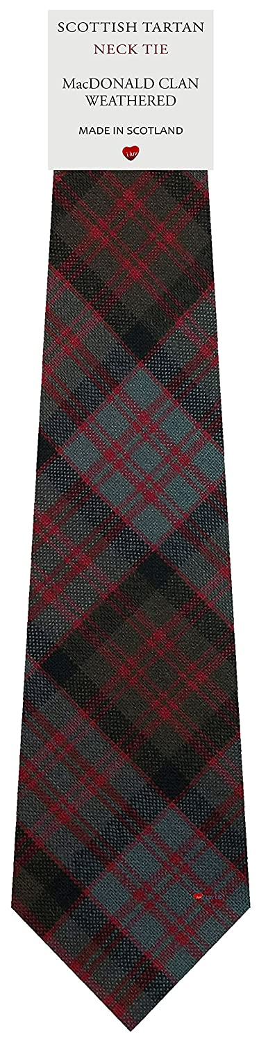Mens Tie All Wool Made in Scotland MacDonald Clan Weathered Tartan