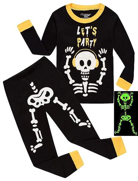 815d788638bf Amazon.com  Boys Pajamas Glow in The Dark Halloween Skeleton ...