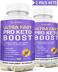 Ultra Fast Keto Boost Keto Pills for Keto Diet - Ketogenic BHB Supplement for Men and Women for Energy, Focus & Metabolism Support 2 Bottles