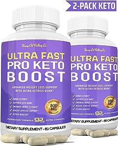 Ultra Fast Keto Boost Keto Pills for Keto Diet - Ketogenic BHB Supplement for Men and Women for Energy, Focus & Metabolism Support 2 Bottles