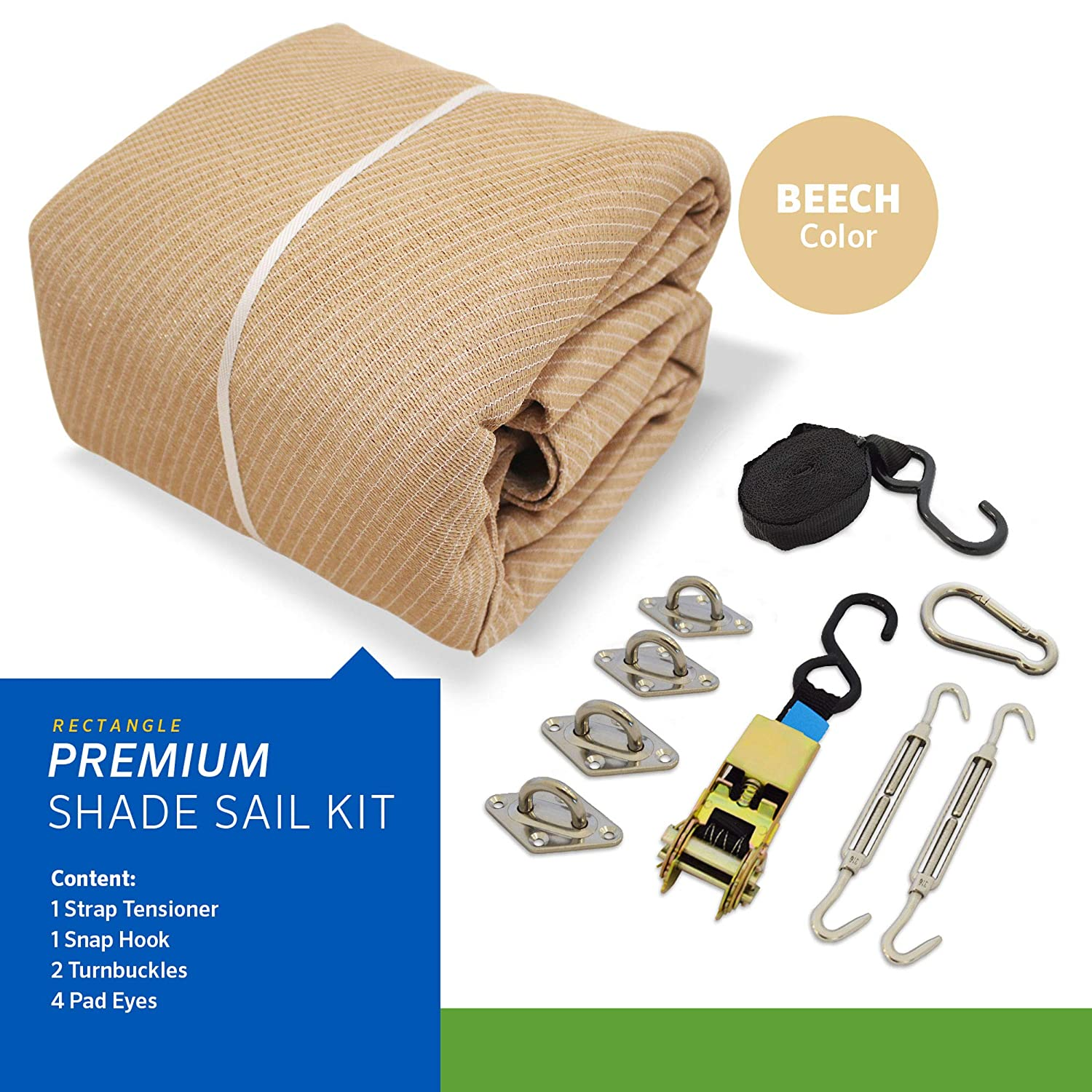 Coolaroo 458249 Premium Shade Sail Kit, 16 5 x9 11 Rectangle , Beech, 16 5 x 9 11