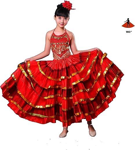 Estilo Gitano Princesa Niñas Trajes de Danza del Vientre Falda ...