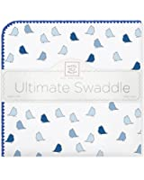 SwaddleDesigns Ultimate Swaddle Blanket, Made in USA, Premium Cotton Flannel, True Blue Jewel Tone Little Chickies