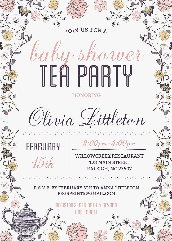 Amazon.com: Baby Shower Tea Party Invitation - Tea Party Baby Shower ...