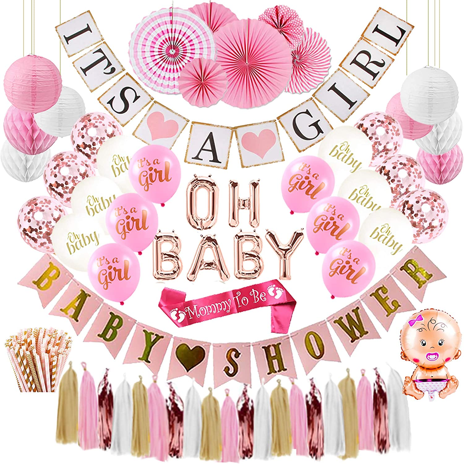 Baby Shower Decorations for Girl, Easy To Put Together Baby Shower Decor with Pink Party Decorations, Baby Shower Balloons, Mommy to Be Sash, Paper Straws, Its a Girl Banner, and More Party Supplies