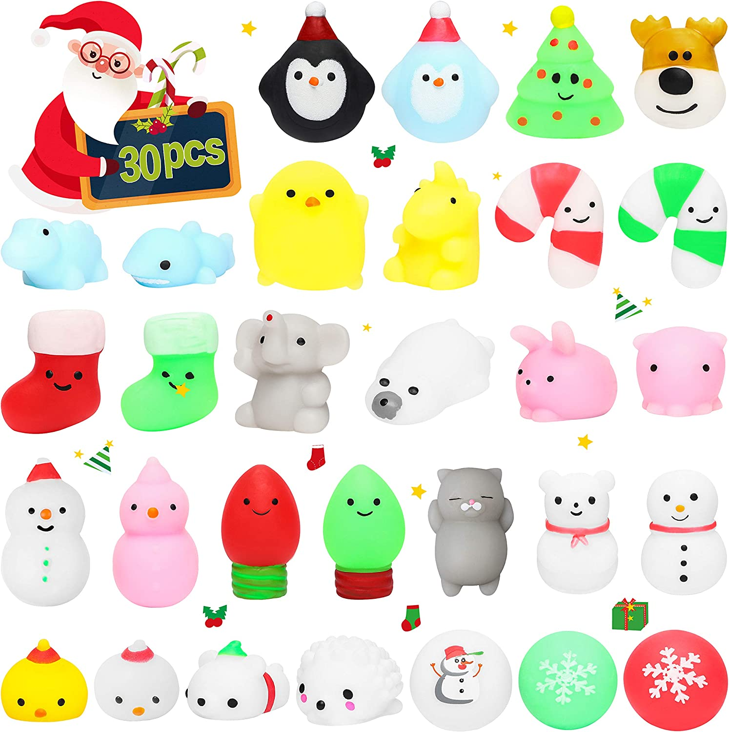 Merry Christmas Decorations with Xmas Santa Snowman Birthday Gifts Stress Relief Hand Toys Kawaii Animals Squeeze Cat Squishies WATINC 30Pcs Christmas Mochi Squishies Toy for Kids Party Favors