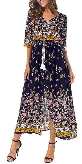 cd5c9d9e450 KorMei Damen Blumen Maxikleid Bohemien 3 4 Arm A-Linie Lang Kleider  Sommerkleid Partykleid