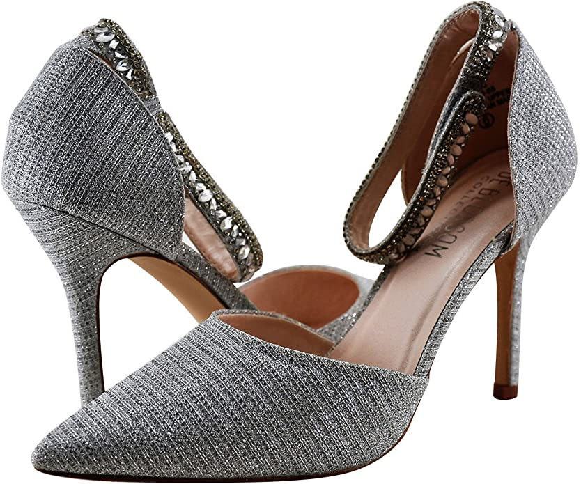 Blossom Renzo 65 Silver Women/'s Pointed Toe Ankle Strap Heel