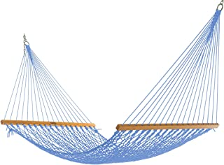product image for Nags Head Hammocks NH11CHB Single Coastal Blue Duracord Rope Hammock with Free Extension Chains & Tree Hooks, Handcrafted in The USA, Accommodates 1 Person, 450 LB Weight Capacity, 12 ft. x 49 in.