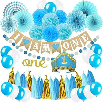 ZERODECO 1st Birthday Decoration, First Baby Boy Birthday Party Hat, Cake Topper -ONE, I AM ONE Banner, Fiesta Hanging Paper Pompoms and Fans, Circle Paper Garland, Party Balloon - Blue