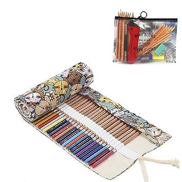 Abaría - 2 unidades bolso de lapices con estuches transparente para arte y officina suministros metal, linda gato 72 agujeros