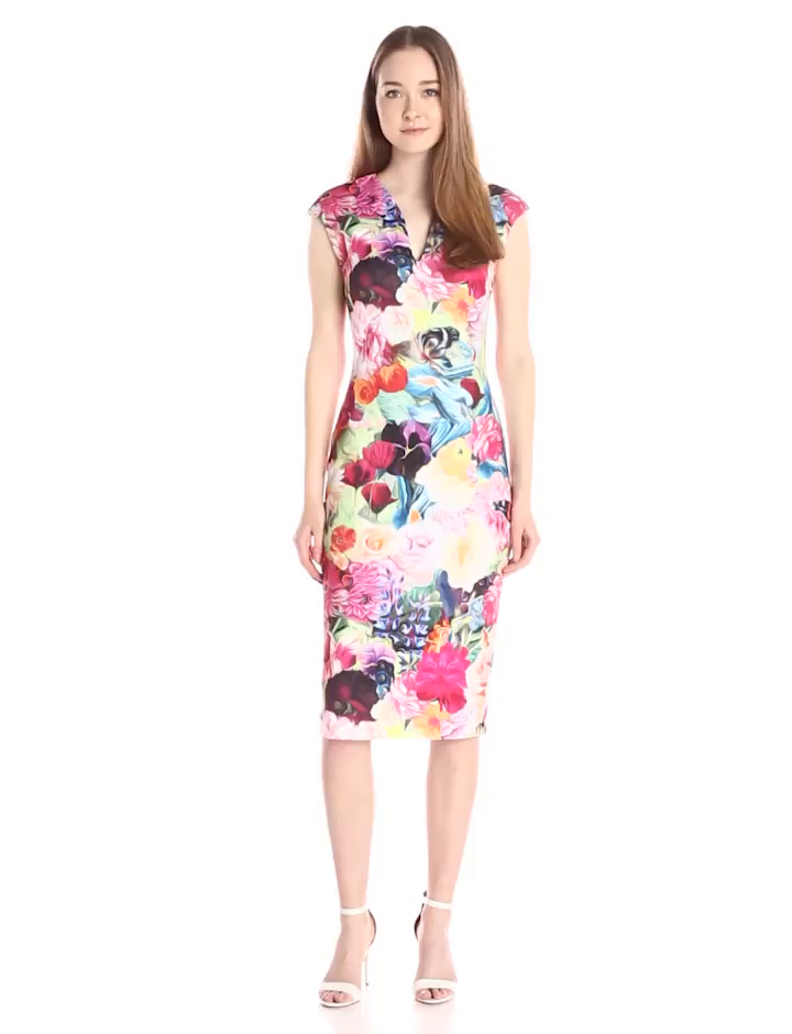 Amazon Ted Baker Womens Odeela Floral Swirl Print Sheath Dress Fuchsia 1 Clothing