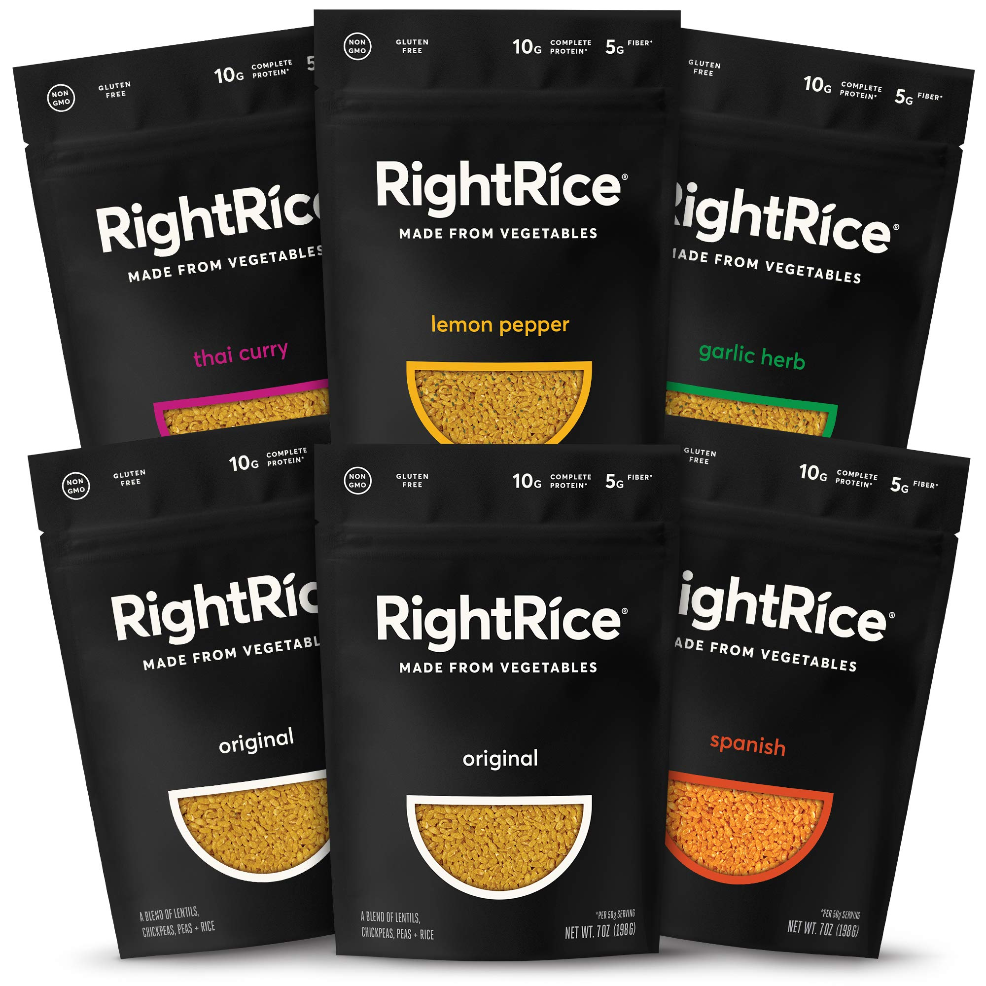 RightRice - Variety Pack (7oz. Pack of 6) - Made from Vegetables - High Protein, Vegan, non GMO, Gluten Free by RightRice