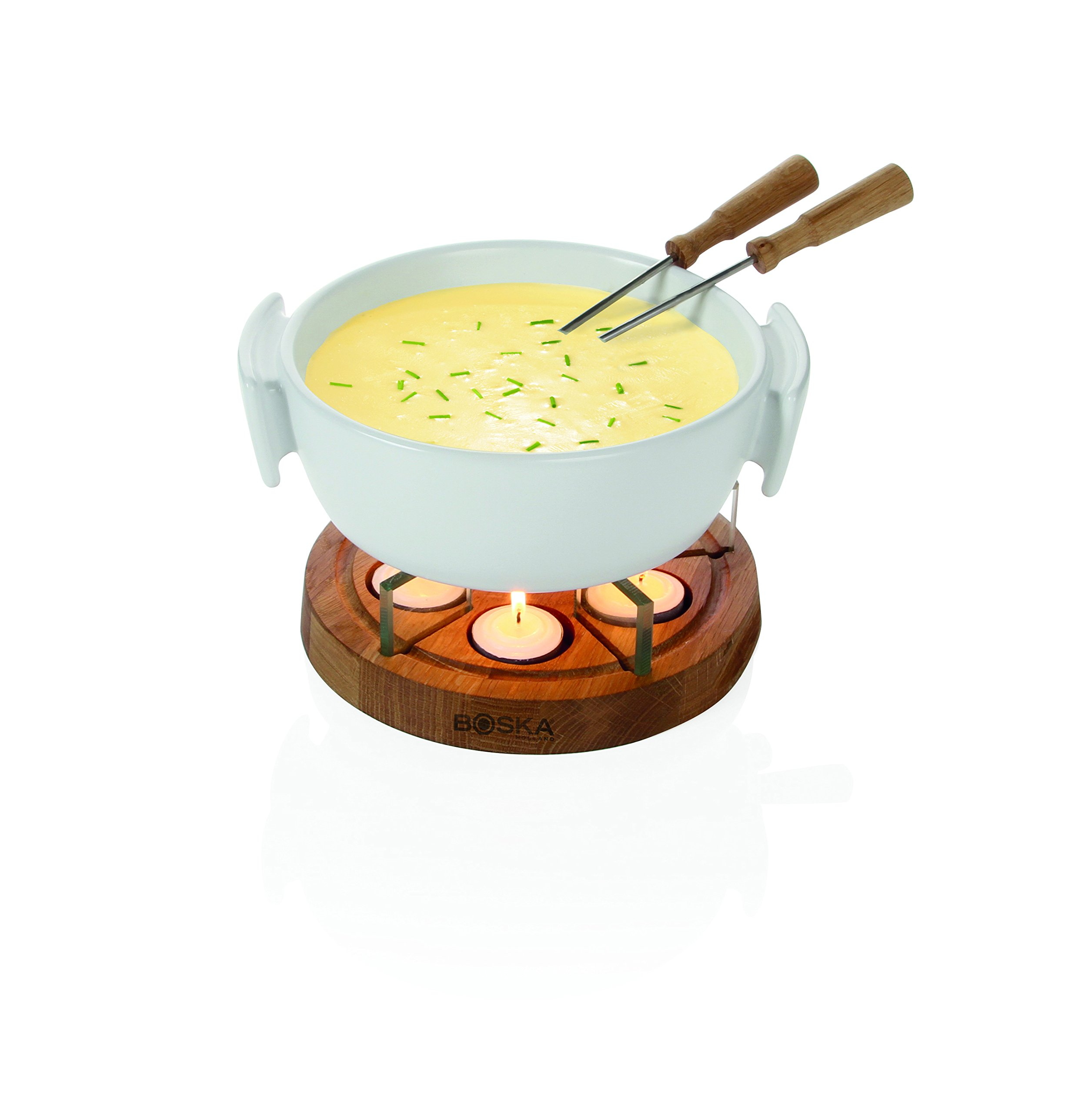 Boska Holland Tea light Fondue Set with Oak Wood Base, 1 L White Stoneware Pot, Life Collection