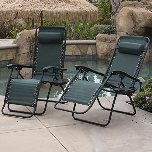 BELLEZE Set of 2pcs Zero Gravity Chairs Foldable Patio Lounge Chair Outdoor Beach Yard Comfort Seat Recliner w/Tray Green