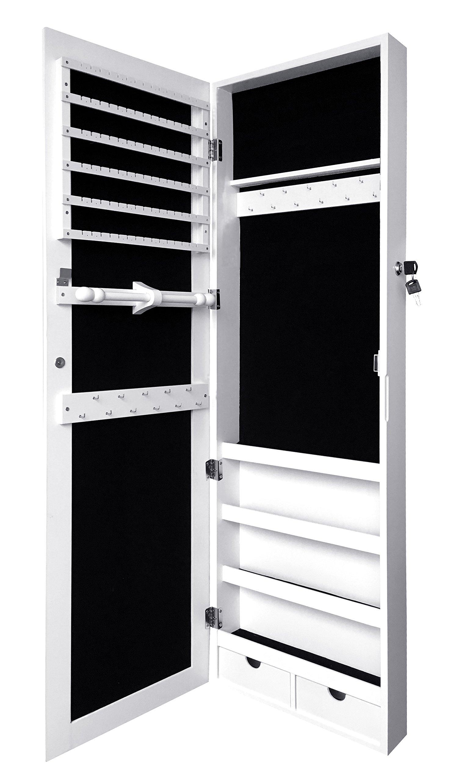 Jewelry Organizer Jewelry Box Jewelry Storage, Locking Jewelry Cabinet, Over Door Jewelry Armoire with Mirror, White
