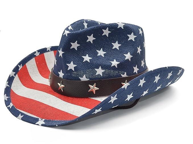 03399f57d36 Amazon.com  Melesh American Flag USA Western Cowboy Hat  Sports ...