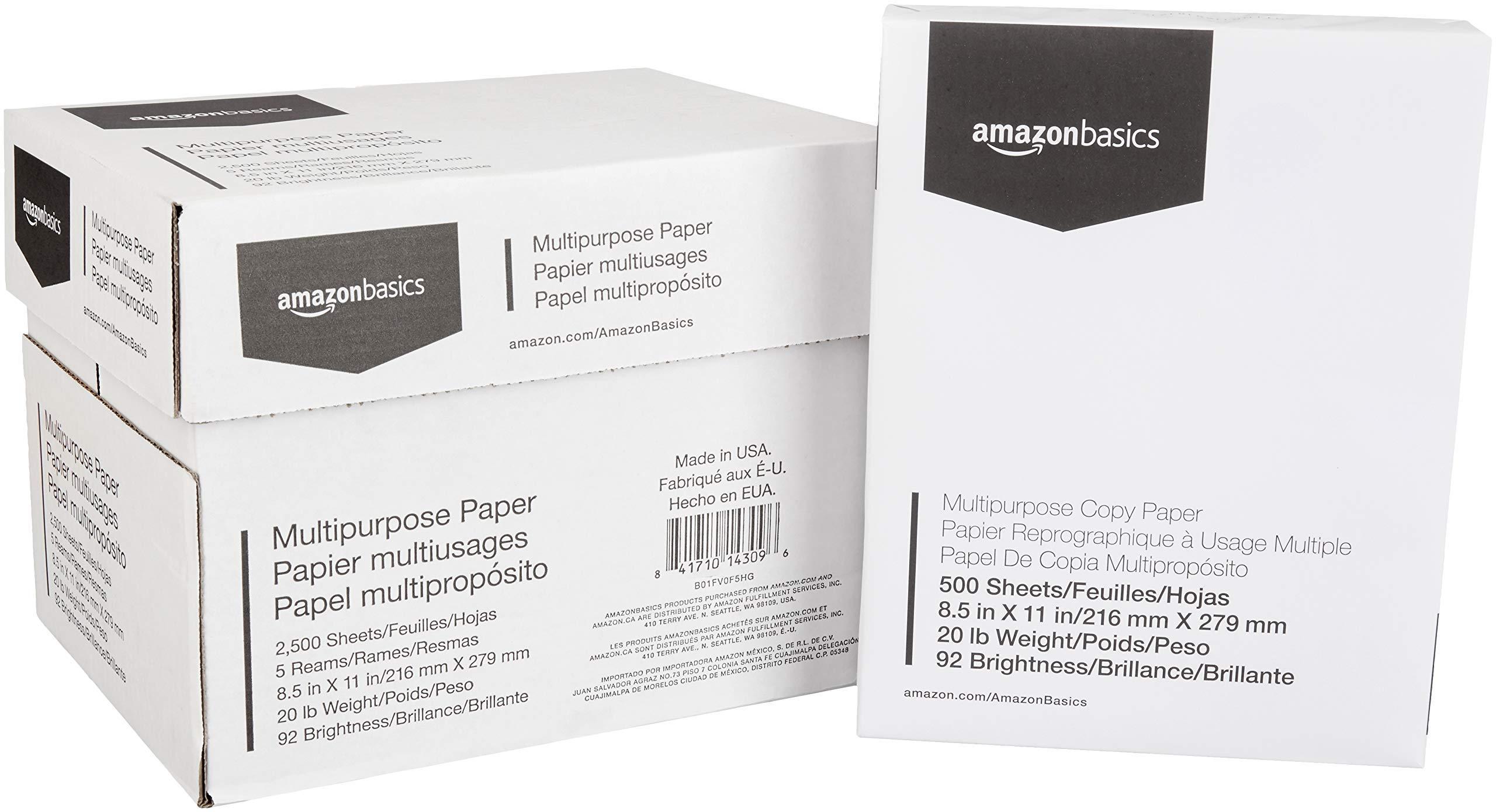 AmazonBasics 92 Bright Multipurpose Copy Paper - 8.5 x 11 Inches, 5 Ream Case (2,500 Sheets) (Renewed)