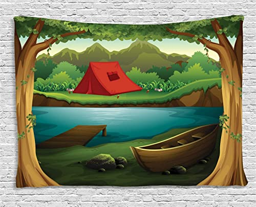Lunarable Camping Tapestry, Idyllic Nature Scene of a Deep Forest with Lake and Mountains Cartoon Woodland, Wide Wall Hanging for Bedroom Living Room Dorm, 80 X 60 , Brown Green