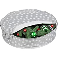 Christmas Wreath Storage Bag - (30 inch) Xmas and Holiday Wreath Storage Container Snowflake Ornament Design to Protect Against Dust, Moisture, and Damage While Preserving Precious Memories