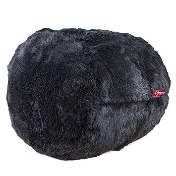 2104d54cbb Lounge Pug® - CLOUDSAC - The Footstool - FAUX FUR - BADGER Black ...
