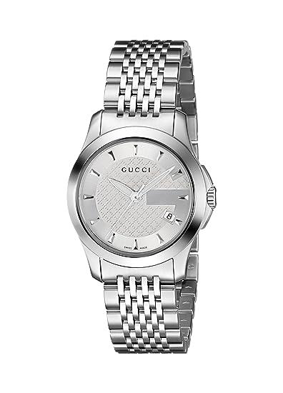 Gucci YA126501 - Reloj de cuarzo, correa de acero inoxidable color plateado
