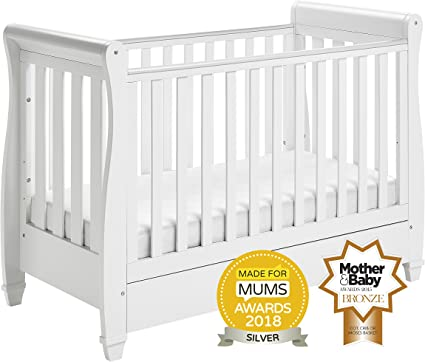 NEW WHITE 2 in1 COT-BED 120 x 60 WITH A 3-PIECE BEDDING no 15 n