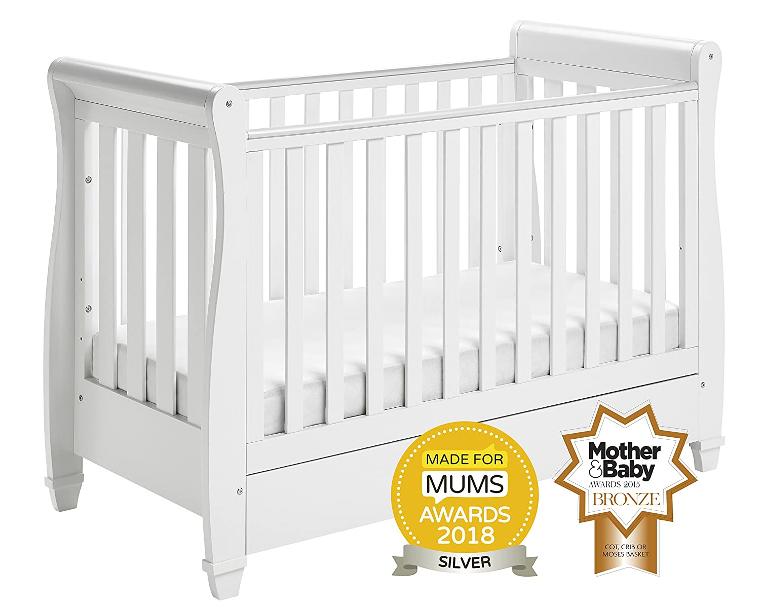 Babymore Eva Sleigh Cot Bed Dropside with Drawer (White Finish) + FOAM MATTRESS 2620102M
