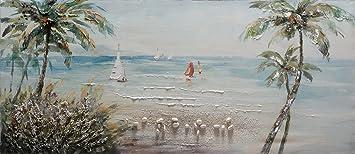 ee8a4a6486 BUBOLA quadro tricolor dipinto a mano mare palme barche particolari in  rilievo DIPIW632 65x150