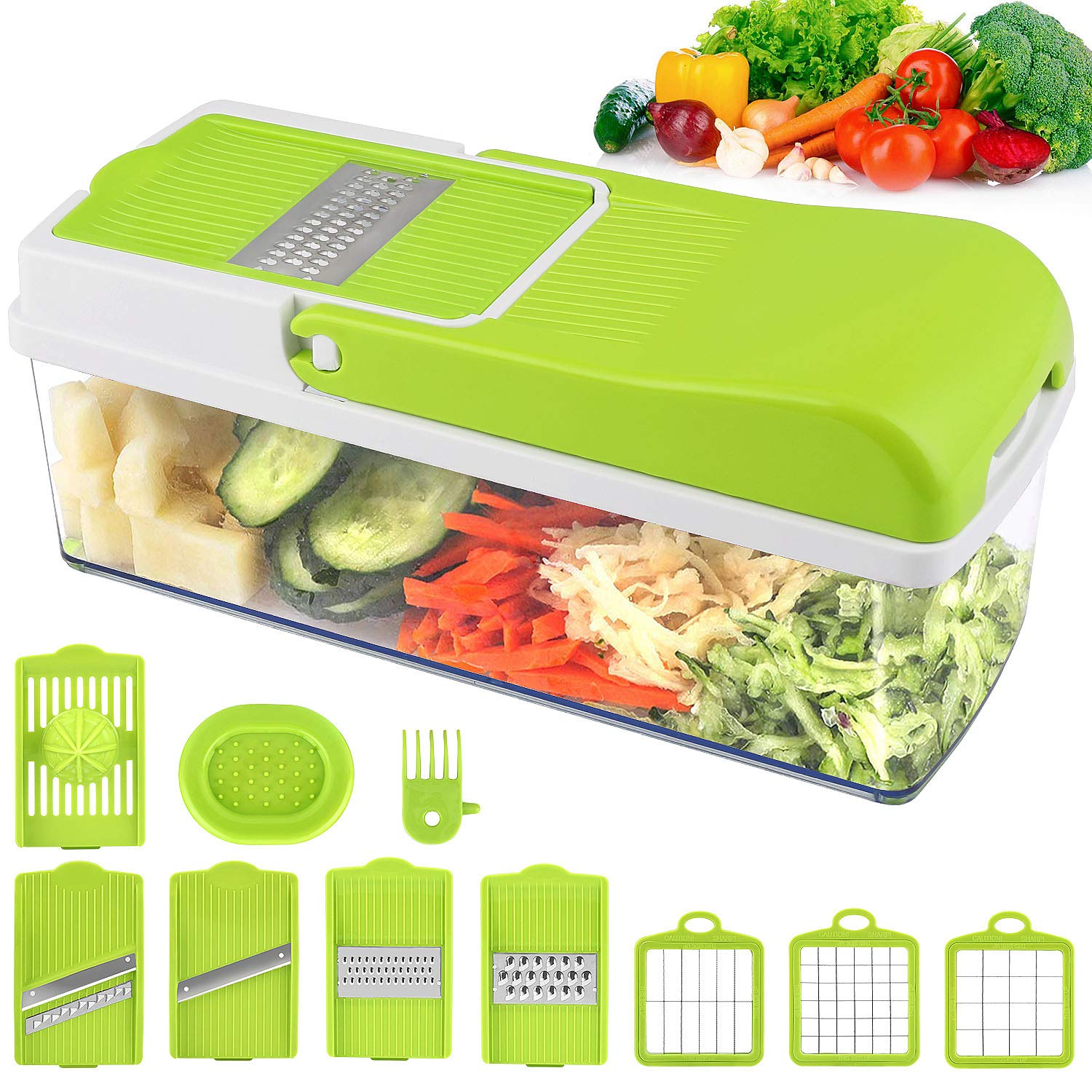 Vegetable Chopper Slicer, Food Chopper MOICO Onion Dicer Veggie Slicer Cutter With Multi-Functional Interchangeable Blades Cheese Grater For Garlic Carrot Potato Tomato Fruit Salad by MOICO