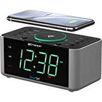 Emerson Alarm Clock Radio and QI Wireless Phone Charger with Bluetooth, Compatible with iPhone XS Max/XR/XS/X/8/Plus…