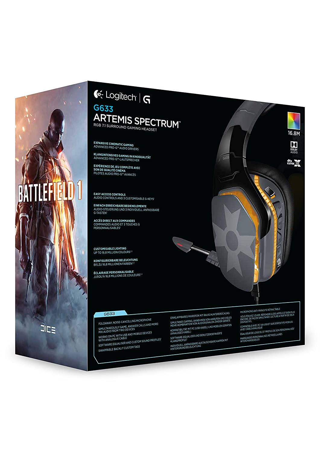 Logitech G633 Artemis Spectrum Rgb 7 1 Dolby And Dts Headphonex Surround Sound Gaming Headset Amazon In Computers Accessories