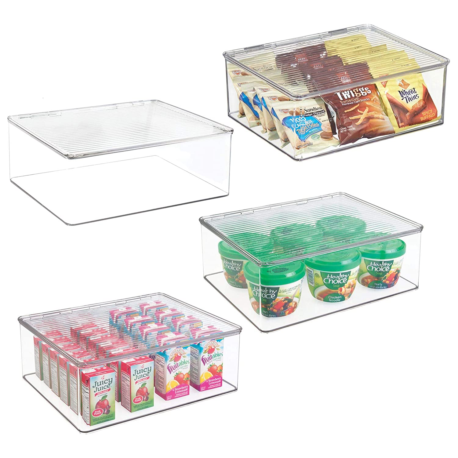 mDesign Plastic Stackable Kitchen Pantry Cabinet/Refrigerator Food Storage Container Bin Box with Lid - Organizer and Holder for Packets, Snacks, Fruits, Produce, Pasta - BPA Free, 4 Pack - Clear