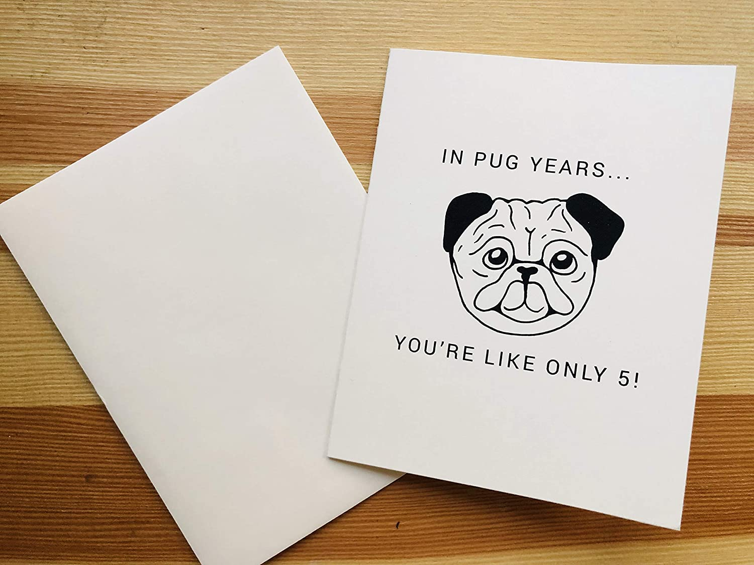 Amazon Pug Birthday Card