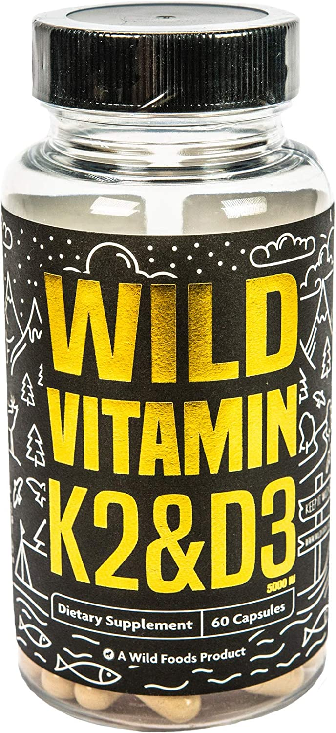 Vitamin K2 (MK-7) & Vitamin D3 (5000 IU) with Black Pepper Extract for Better Absorption, Non-GMO, Gluten-Free, 2-in-1 Support, 60 Vegetable Capsules (60 Caps)