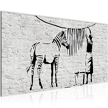 b0594ecca7 Bilder Washing Zebra - Banksy Graffiti Wandbild Vlies - Leinwand Bild XXL  Format Wandbilder Wohnzimmer Wohnung