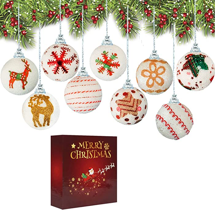 Christmas Ball Ornaments Xmas Tree Baubles Decorations DIY Gift for Home Decor New Year Party 2.4 inch (9 Pack)