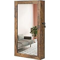 SONGMICS Smyckesskåp, spegelskåp, väggskåp, låsbart väggskåp, platsbesparande smyckesarrangör, vintagebrun JJC051K01