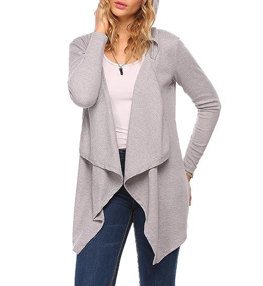 b5a468b857 Mofavor Women s Hooded Long Sleeve Casual Open Front Knit Cardigan Sweater  Outwear