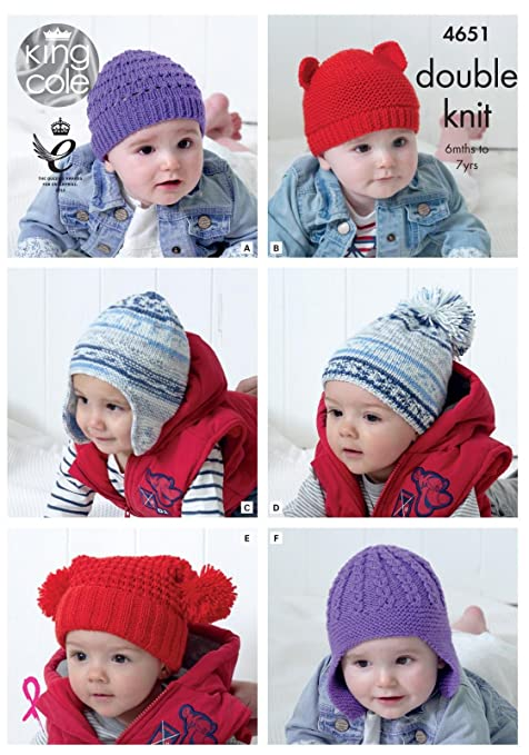 King Cole 4651 Knitting Pattern Babies Childrens Hats In Cherished
