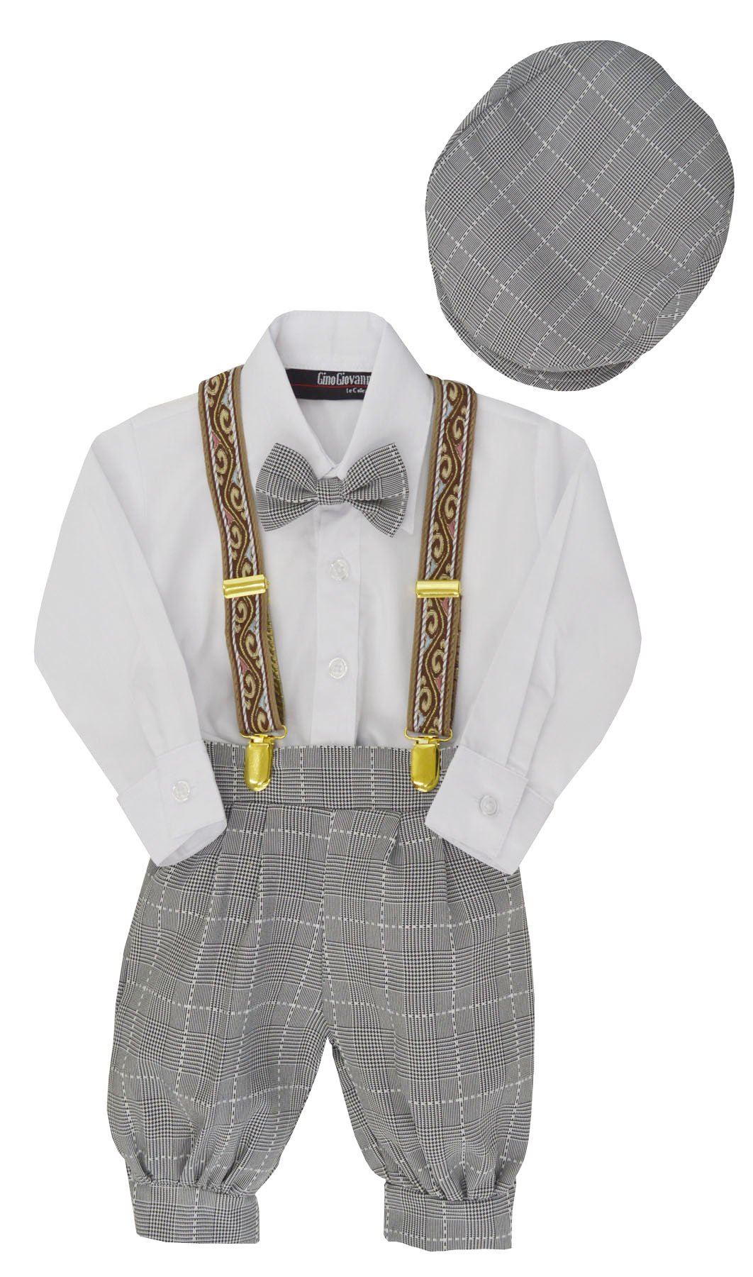 G284 Baby Boys Vintage Knickers Outfit Suspenders Set (3T/3, Black/White)