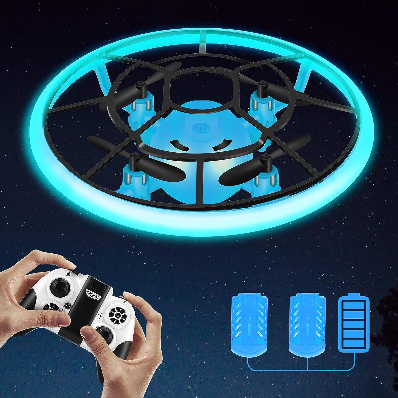 Regalos para niños, RC Helicopteros Teledirigidos con Luces LED Brillantes, Mini Drone para Principiante y niños, Juguete Voladora con 2 baterías, 360° Flip, Altitud Hold, Modo sin Cabeza (Azul)