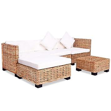 Vidaxl Sofagarnitur 14 Tlg Natur Rattan Sofa Set Rattanmöbel Couch