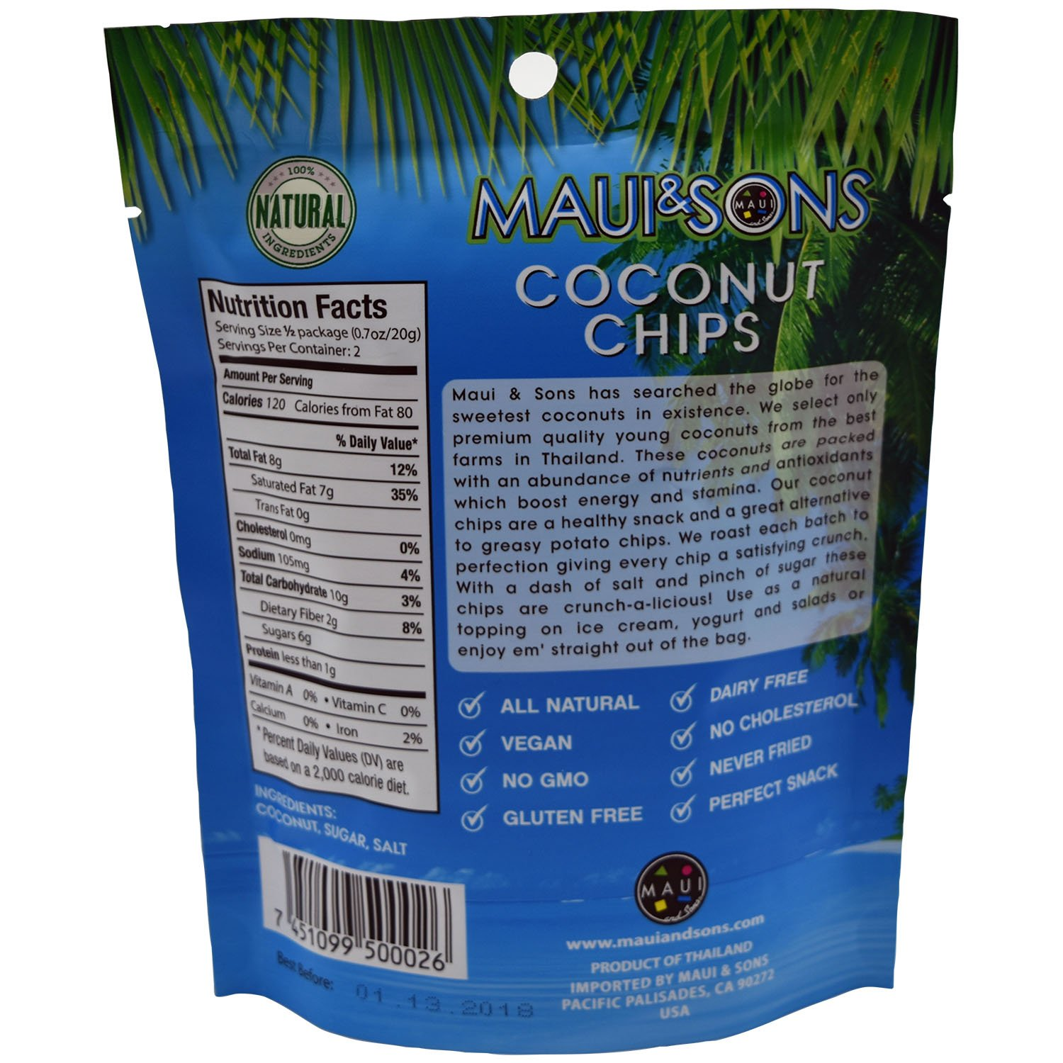 Amazon Maui&Sons Coconut Chips 1 4 Oz 3 Bags