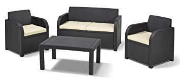 Simple Keter Carolina Outdoor Seater Rattan Lounge Table Garden Furniture  Set Graphite With Cream Cushions With Rattan Lounge