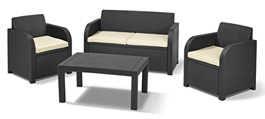 Rattan lounge  Allibert by Keter Carolina Outdoor 4 Seater Rattan Lounge Table ...