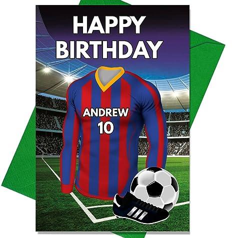 Personalizado Barcelona Fútbol Tarjeta de cumpleaños – cualquier nombre y numerados camiseta