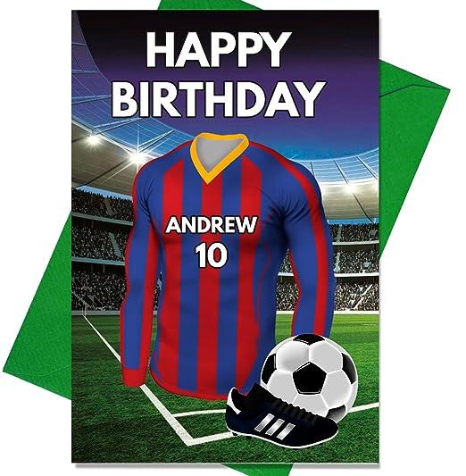 Tarjeta de cumpleaños personalizada con temática de fútbol ...